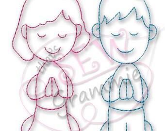 Redwork Prayer Kids