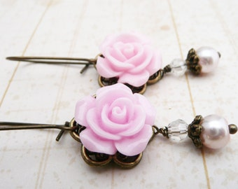 Earrings, Sugar pink resin rose and pearl brass dangle earrinngs No. E226