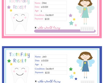 Instant Download Toothfairy Tooth Fairy Receipt Digital File Boy and Girl