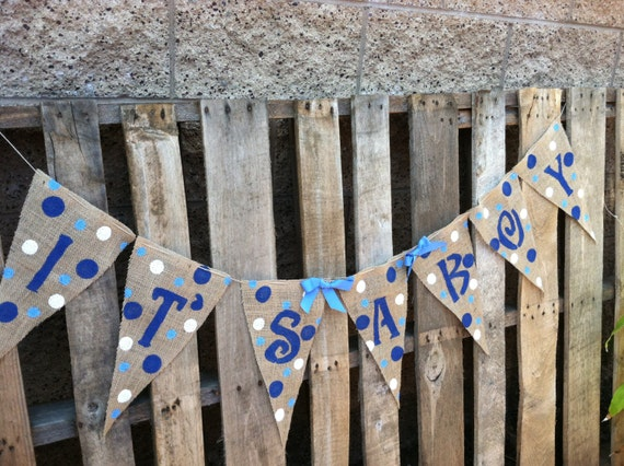 it 39 s a boy burlap baby shower banner xl pennants