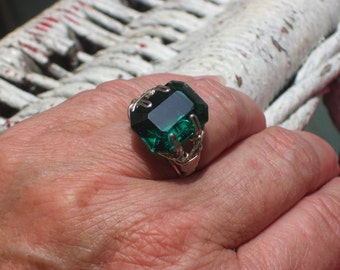 Silver and Green CZ wire wrapped ring