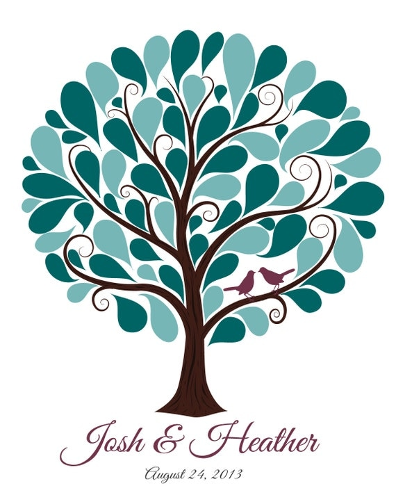 Wedding Guest Signing Tree: Wedding Guest Tree With 55 Signature Shapes By