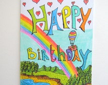 Burthday card- Happy Birthday party gift card- birthday party favor,gift tag and envelope by ExiArts