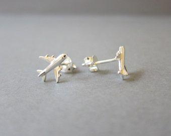Tiny Sterling Silver Airplane Stud Earrings, Cute Earrings.