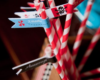 Pirate Themed Straw Tags / Straw Flags / Pirate Party