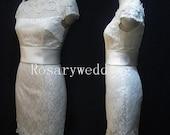Short sleeves sheathy bateau lace wedding dress
