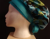 Blue, Green and Brown Bouffant Surgical Scrub Hat