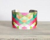 KALEIDOSCOPE Cuff Bracelet - Metal Cuff - Aluminum Cuff Bracelet - Large Bold Bracelet - Wide Cuff Jewelry - Geometric Bracelet - PeaceLoveBeach