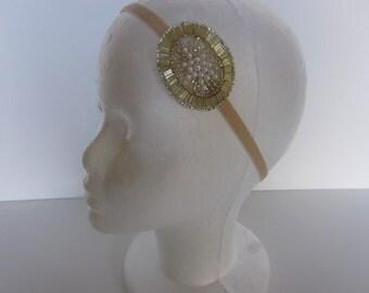 1920s Pearl Headband, flower girl, great gatsby  Hair Accessories, Great Gatsby Headpiece 1920s Flapper Headband Pearl Gold Beaded Headdress
