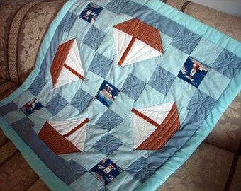 Sailing - Hand Sewn/Hand Quilted Baby Quilt/Wall Hanging