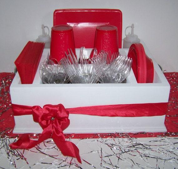 items similar to red table caddy napkin holder paper plate holder utensil holder back yard. Black Bedroom Furniture Sets. Home Design Ideas