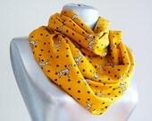 Handmade Dalmatian Dog Infinity Scarf - Mustard Summer Cotton Scarf