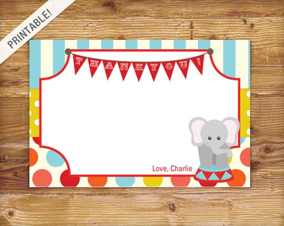 Custom Carnival Thank You Card Circus Thank You Card - Birthday invitation cards circus