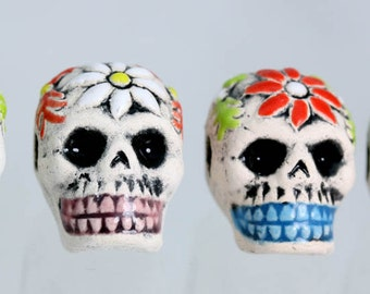 Day of the dead , Skull beads. sugar skull beads, Part Glazed with Engraved flower design. lot x 4