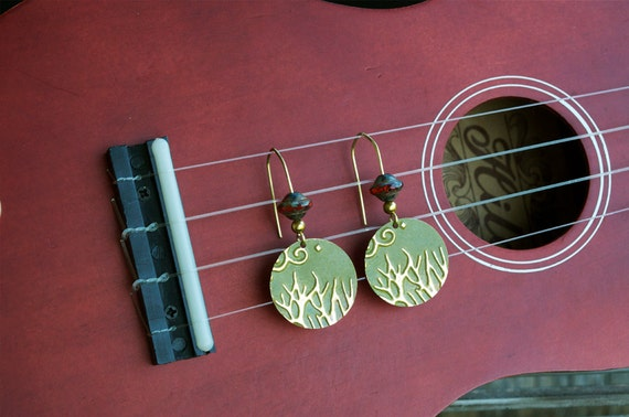 Painted brass tree earrings
