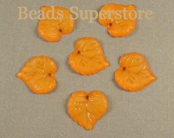 15 mm x 16 mm Orange Lucite Leaf Bead / Pendant - 20 pcs