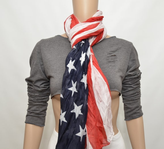Patriotic Scarf - American Flag scarf -July 4th scarf - American US Flag