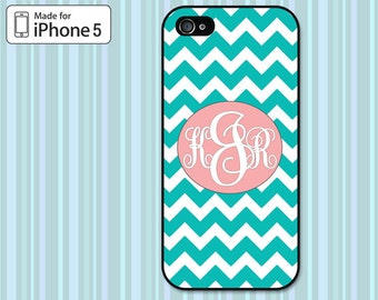 Monogrammed iPhone 5 Case, Teal Chevron, iPhone 5S Case I5S