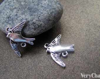 20 pcs Antique Silver Swallow Bird Connector Charms 16x21mm A836