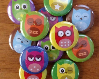Cute Owl Buttons - 1 Inch  Pinback Button Set of 12 Colorful Owls