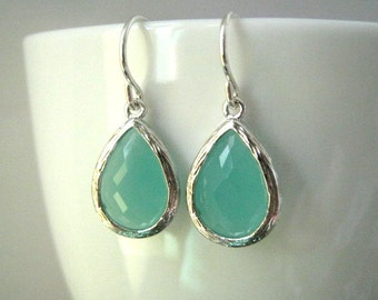 Mint Aqua Chalcedony Aquamarine Glass Tear drop Silver Earrings, Bridesmaids, Sterling Silver Wires