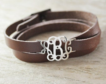 Christmas Gift monogram bracelet 925 sterling silver personalized jewelry monogram jewelry leather bracelet valentine gift for New Year
