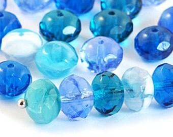 Aqua Blue Teal 9x6mm Faceted Rondelles, Czech Glass Bead Mix, Rondelle Beads x 20