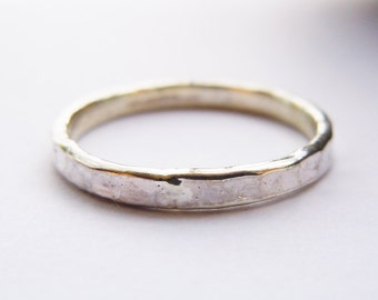 Sterling Silver Hammered Ring 2mm All Sizes Engravable