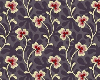Purple Floral Fabric, Shelburne Calico Garden in Association with Shelburne Museum for Windham Fabrics 32132 2 - 1/2 yard