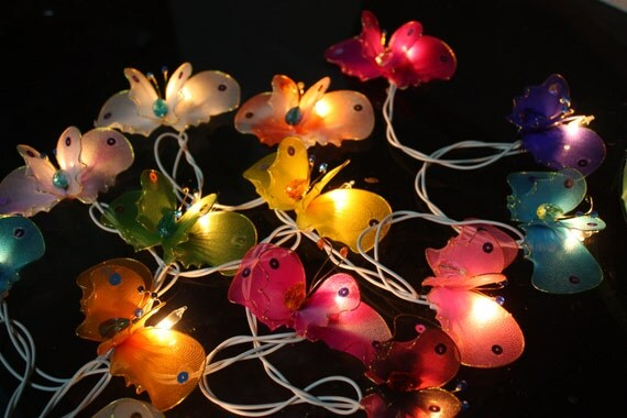 Indoor Butterfly String Lights : 20 Butterfly Bug Multi Colour Fairy String Lights by fairylighting