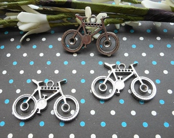 10 PCS 35x23mm Bicycle Charm Pendant --Antique tibetan Silver,Bicycle accessories。