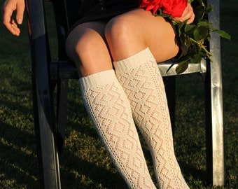 Nice elegant knit lace white women socks. Gift for her. Autumn Winter Spring fashion.