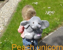 Elephant Kid's Backpack Bag or Pyjama Case Crochet PATTERN by Peach.Unicorn