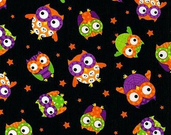 One Half Yard of Fabric - Halloween Owls Black