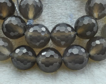 Grey Agate  faceted Round  beads 12mm,32 pcs
