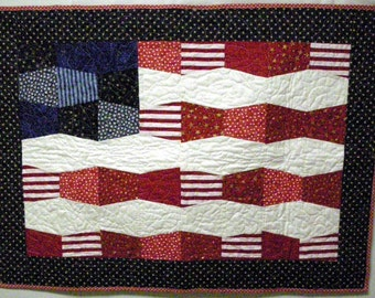 Quilted American flag tablerunner or wall hanging