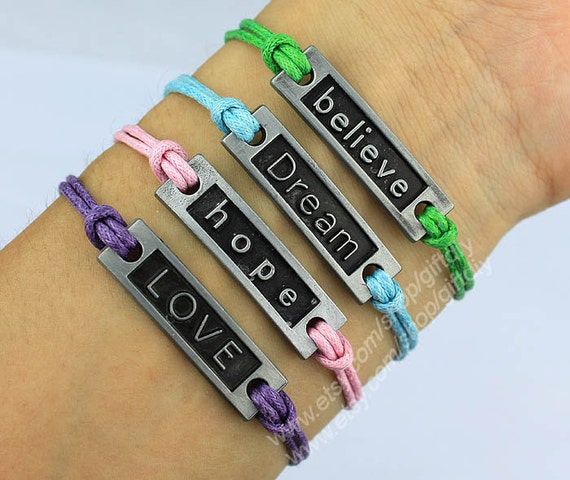 Believe Bracelet,Dream Bracelet,Hope Bracelet,LOVE bracelet-Wax Cord Bracelet-Best friend Bracelet BFF-Choose Your Favourite Color -