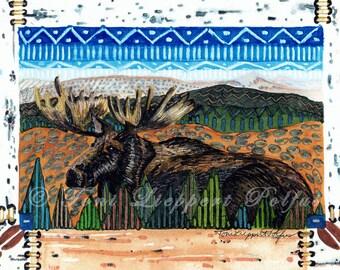 Resting Moose Painting, matted print of original watercolor painting, northwoods painting, moose art, Adirondack style art, folk art