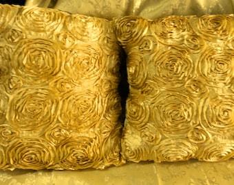Satin Rosette Decorative Cushion/Pillow Cover Set of 2