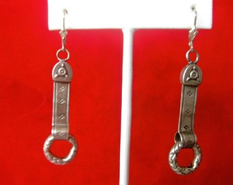 Pair of Antique French Sterling Silver Earrings
