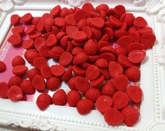 Miniature Fruit - Strawberry 20pcs - 16mm For Sweet Deco, Charms, Dollhouse, Miniature - LOT018
