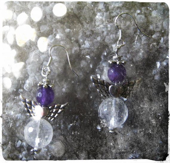 Handmade Silver Guardian Angel Earrings with Facetted Rock Crystal & Amethyst by IreneDesign2011