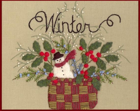 Wool Seasons Winter Wool Applique Pattern By Beth Ritter