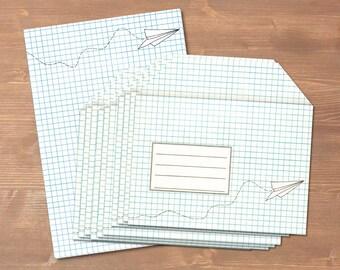 Papierflieger - handgemachtes Briefpapier // recycling Papier // 10 Briefumschläge & Block