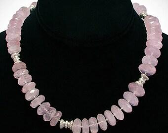"Unique Pink Quartz & Round Diamond Choker Necklace 18K White Gold 17"""