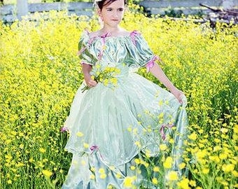 Civil War Reenactment Cinderella Belle Sophia Girls Ball Gown Sizes, Styles and Colors available