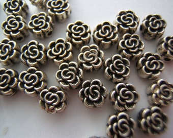 35  5mm Pewter Flower Beads
