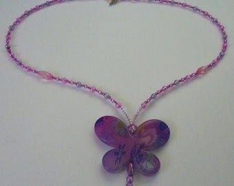 Childrens Butterfly Necklace Handmade Costume Jewellery