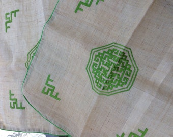 9 Vintage Asian  Pillow Cases with Kelly Green Satin Stitching