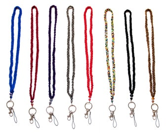 Braided Colored Bead Lanyard with Jeweled Accents, Key Ring and Latch